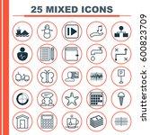 set of 25 universal editable... | Shutterstock .eps vector #600823709