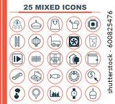 set of 25 universal editable... | Shutterstock .eps vector #600825476