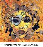 face of beautiful woman in 3d... | Shutterstock . vector #600826133