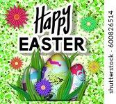 happy easter card. art...   Shutterstock .eps vector #600826514