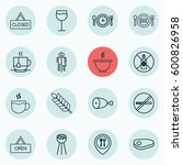 set of 16 eating icons.... | Shutterstock .eps vector #600826958