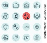 set of 16 business management... | Shutterstock . vector #600829850