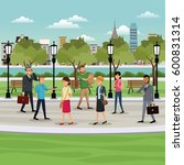 people walking park city... | Shutterstock .eps vector #600831314