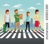 people crossing street urban... | Shutterstock .eps vector #600831380
