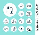 set of 12 business management... | Shutterstock . vector #600831629
