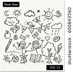 children's drawing on paper... | Shutterstock .eps vector #600843560