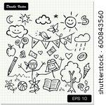 children's drawing on paper...   Shutterstock .eps vector #600843560