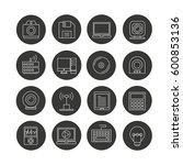 electronic device icon set in... | Shutterstock .eps vector #600853136