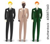 business dress code for men | Shutterstock .eps vector #600857660