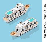 cruise liner set isometric view ... | Shutterstock .eps vector #600865316