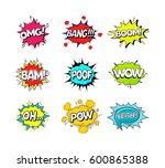 comic speach bubble effect set... | Shutterstock .eps vector #600865388