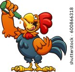 drunk cartoon rooster drinking... | Shutterstock .eps vector #600866318