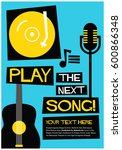 retro play the next song poster ... | Shutterstock .eps vector #600866348