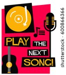 retro play the next song poster ... | Shutterstock .eps vector #600866366