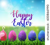 easter background with colored... | Shutterstock . vector #600866990
