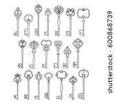 vintage antique keys  linear... | Shutterstock .eps vector #600868739