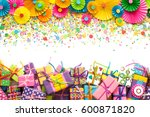 colorful bright paper rosette.... | Shutterstock . vector #600871820