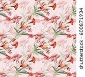 seamless pattern bouquet of...   Shutterstock . vector #600871934
