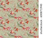 seamless pattern bouquet of... | Shutterstock . vector #600871940