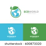vector of a earth and leaf logo ... | Shutterstock .eps vector #600873320