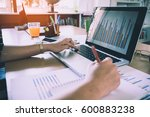 business woman analyzing... | Shutterstock . vector #600883238