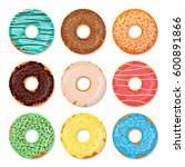 donuts set. sweet and tasty... | Shutterstock .eps vector #600891866