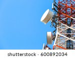 telecommunication tower with... | Shutterstock . vector #600892034