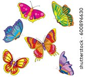 set of butterflies. vector... | Shutterstock .eps vector #600896630