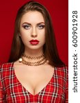 portrait of young beautiful... | Shutterstock . vector #600901928