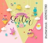 easter background with hanging... | Shutterstock .eps vector #600902780