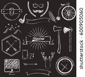 vector hipster icons chalkboard ... | Shutterstock .eps vector #600905060