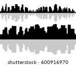 modern city buildings silhouette | Shutterstock .eps vector #600916970