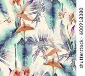 exotic flowers seamless pattern....   Shutterstock . vector #600918380