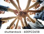 group of people holding hand... | Shutterstock . vector #600922658
