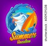 shark surfing in summer vacation | Shutterstock .eps vector #600929108