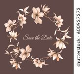watercolor floral frame.... | Shutterstock .eps vector #600937373