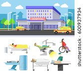hospital building and patients... | Shutterstock .eps vector #600937934