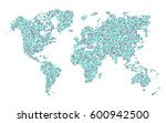 dotted world map | Shutterstock .eps vector #600942500