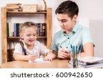 teenager and a little girl... | Shutterstock . vector #600942650