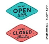 open and closed door sign for a ... | Shutterstock .eps vector #600945344