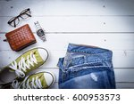 casual style items of men on... | Shutterstock . vector #600953573