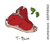 t bone steak cut vector...   Shutterstock .eps vector #600958463