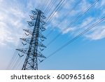 silhouette of high voltage... | Shutterstock . vector #600965168