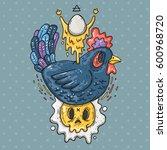 dark chicken and fried eggs.... | Shutterstock .eps vector #600968720