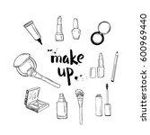 hand drawn make up beauty... | Shutterstock .eps vector #600969440
