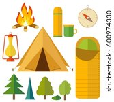 camping equipment icon set....