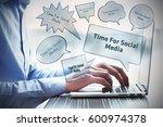 time for social media  business ... | Shutterstock . vector #600974378