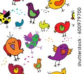 seamless pattern with funny... | Shutterstock . vector #600979700