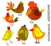 cute cartoon chicken...   Shutterstock . vector #600982448