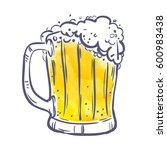 yellow toby jug with beer on... | Shutterstock .eps vector #600983438
